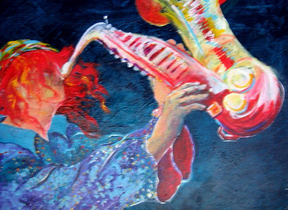 Trombone Painting by Lily  Azerad-Goldman