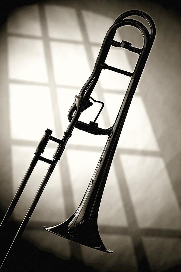 Trombone Photograph - Trombone Silhouette And Window by M K  Miller