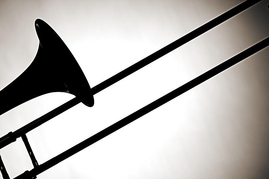 Trombone Photograph - Trombone Silhouette Isolated by M K  Miller
