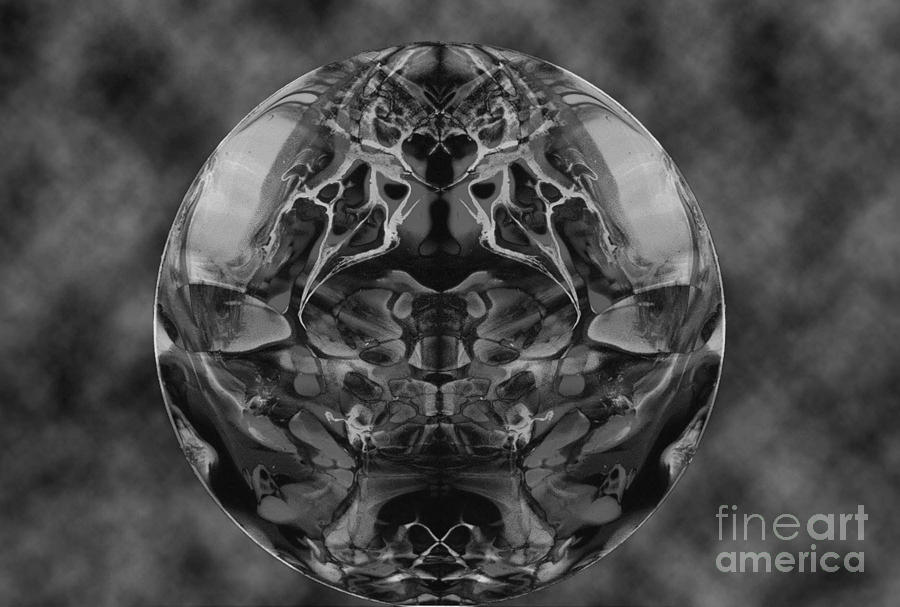 Art Abstract Black And White Fantasy Surreal Digital Print Symetrical Painting - Trompe Loiel by Dan Cope
