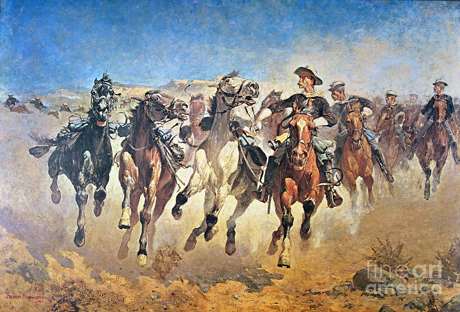 Troopers Moving Painting By Frederic Remington