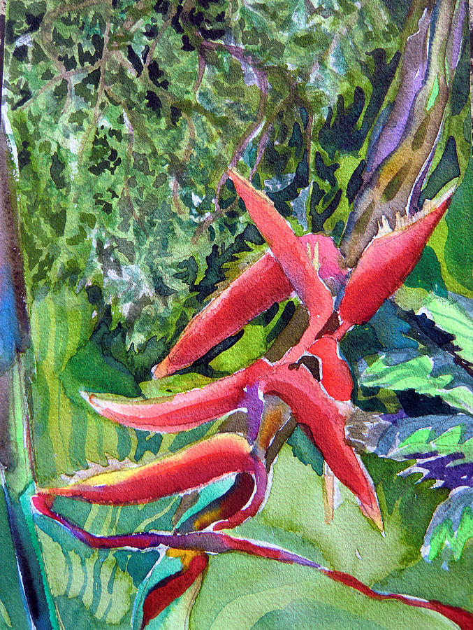 Orchid Painting - Tropcial Red Flora by Mindy Newman