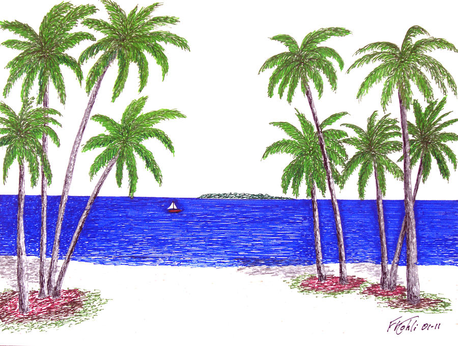 Tropical beach scenes drawing tropical beach by frederic kohli