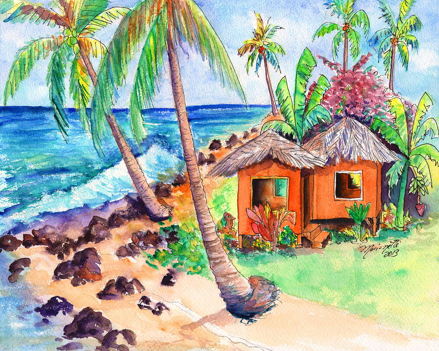 Tropical Beach Huts: Tropical Beach Hut Painting By Marionette Taboniar