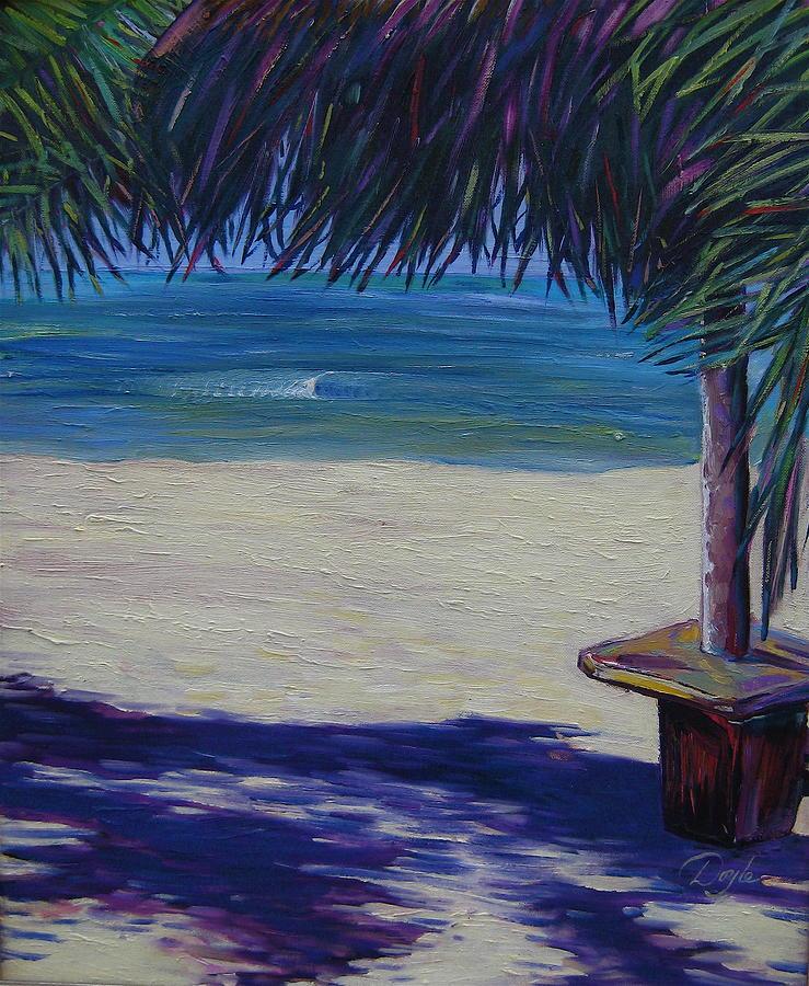 Ocean Painting - Tropical Beach Shadows by Karen Doyle