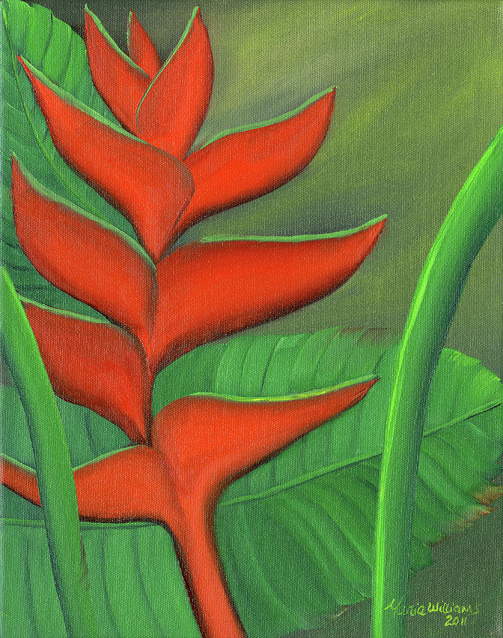 Exotic Painting - Tropical Beauty - Red And Green Heliconia by Maria Williams