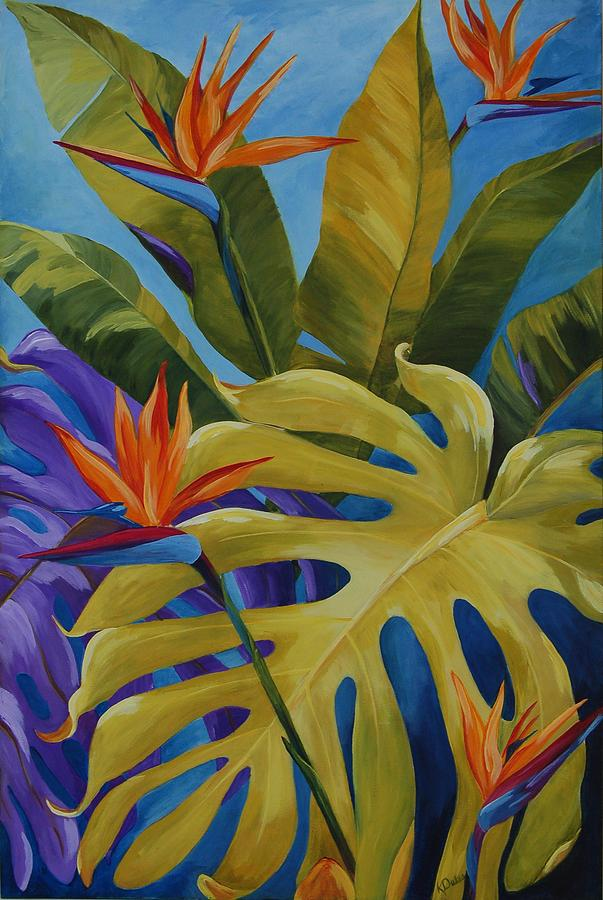 Tropical birds painting by karen dukes for American tropical mural