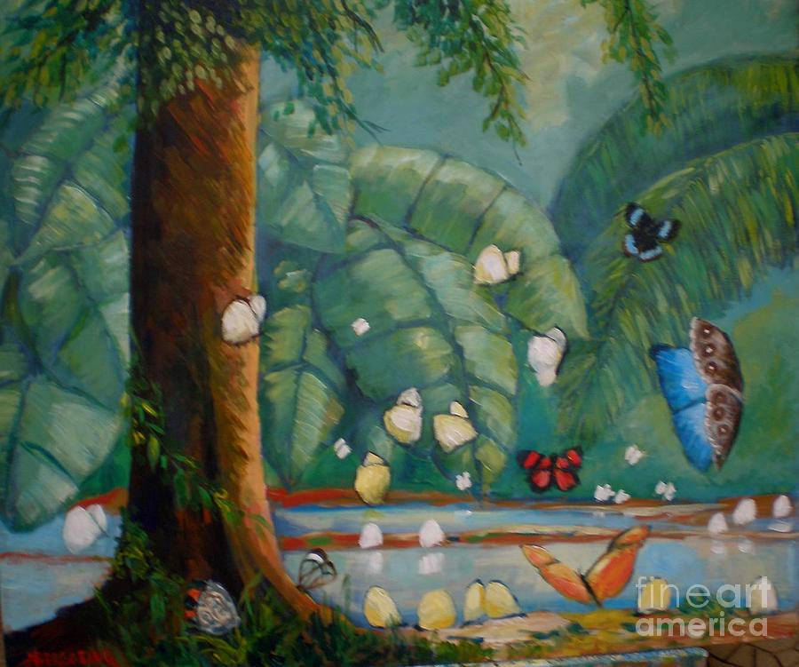 Tropical Forest Painting - Tropical Butterflyes by Jean Pierre Bergoeing