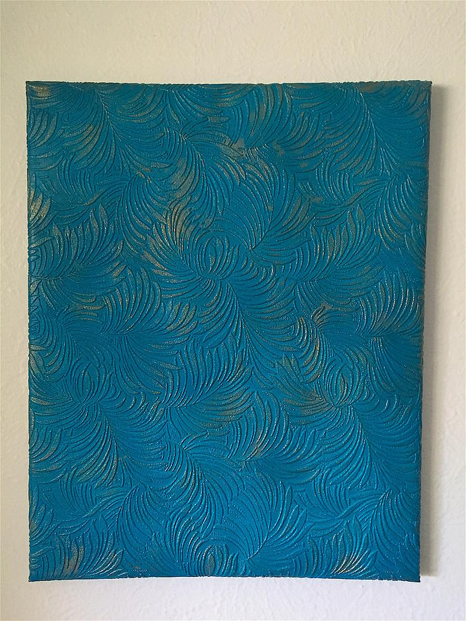 Janice Painting - Tropical Palms Canvas Teal Blue - 16x20 Hand Painted by Artistic Mystic