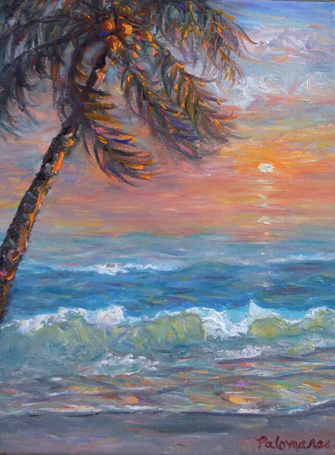 Tropical Coastal Beach Palm Tree Sunset Painting by Amber Palomares