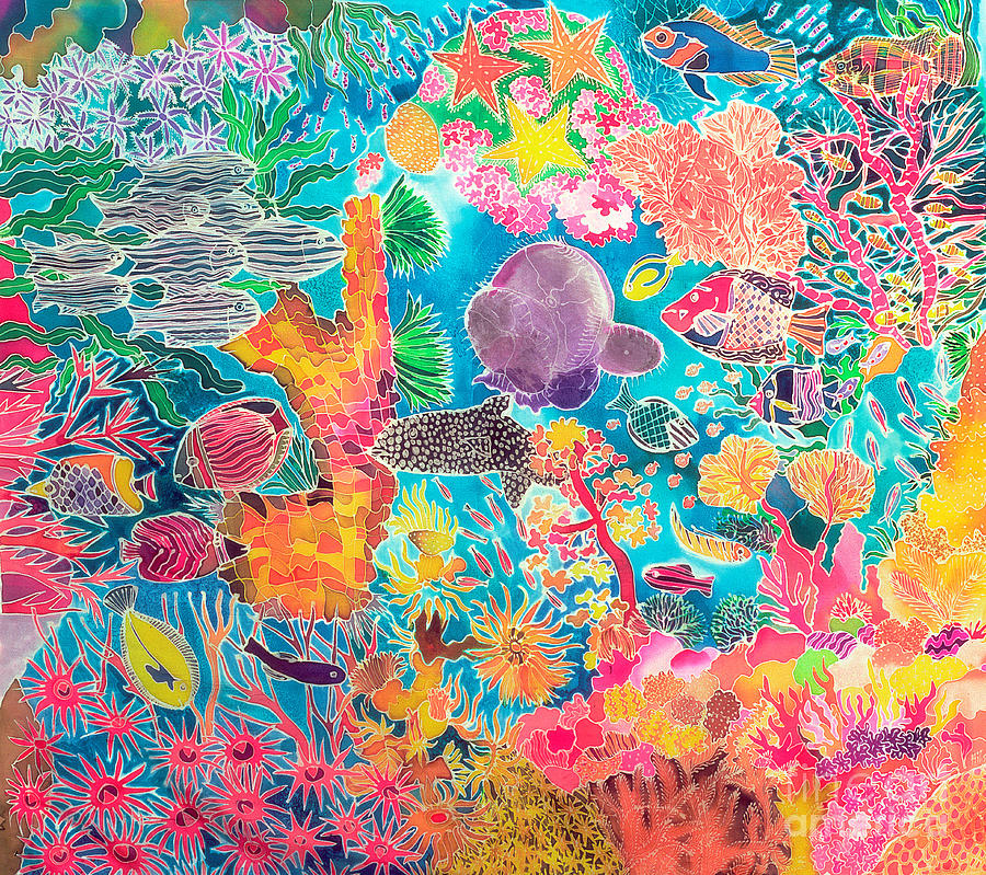 Water Painting - Tropical Coral by Hilary Simon