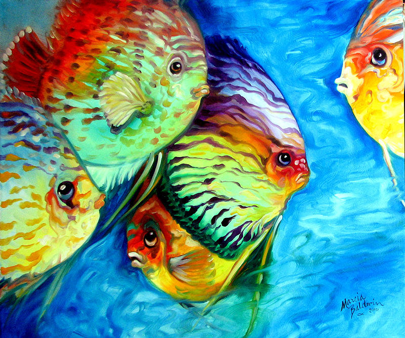 5b1e9ded Tropical Fish Colors Painting by Marcia Baldwin
