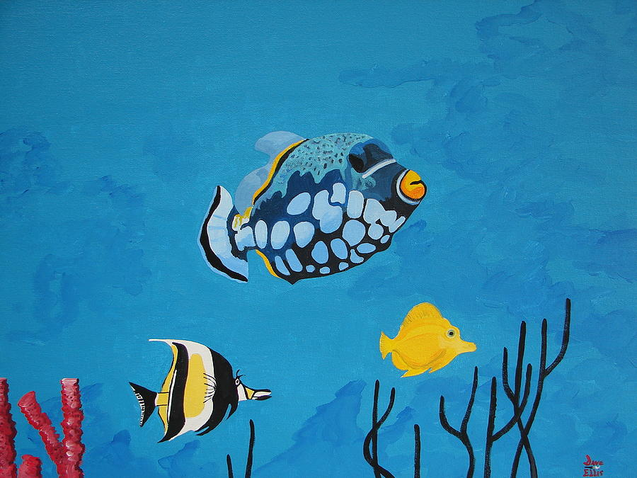 Marine Life Painting - Tropical Fish I by David Ellis