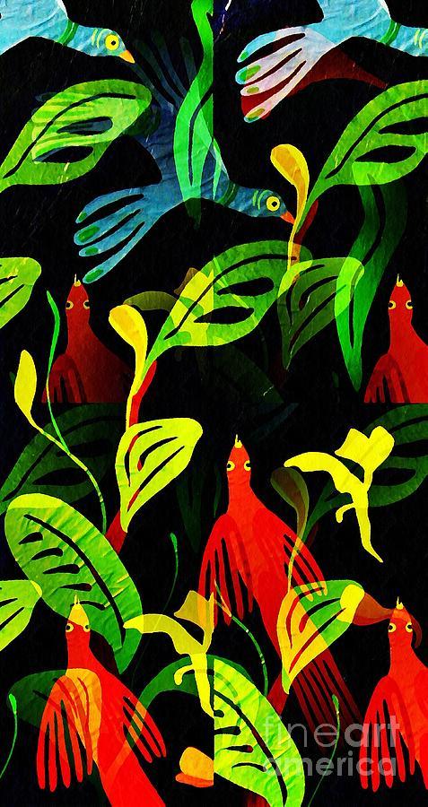 Tropical Mixed Media - Tropical Flock by Sarah Loft