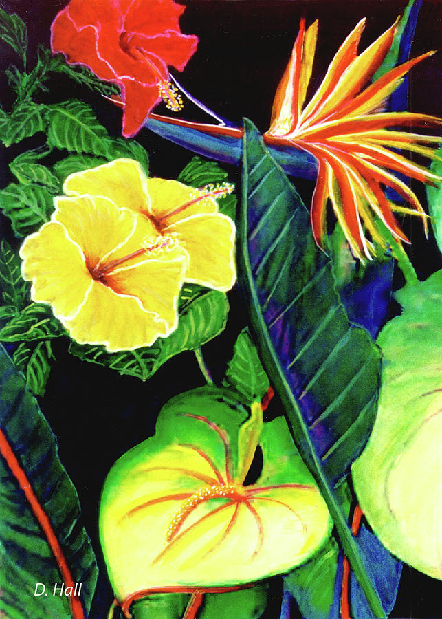 Tropical Flowers Painting - Tropical Flower Arrangement #251 by Donald k Hall