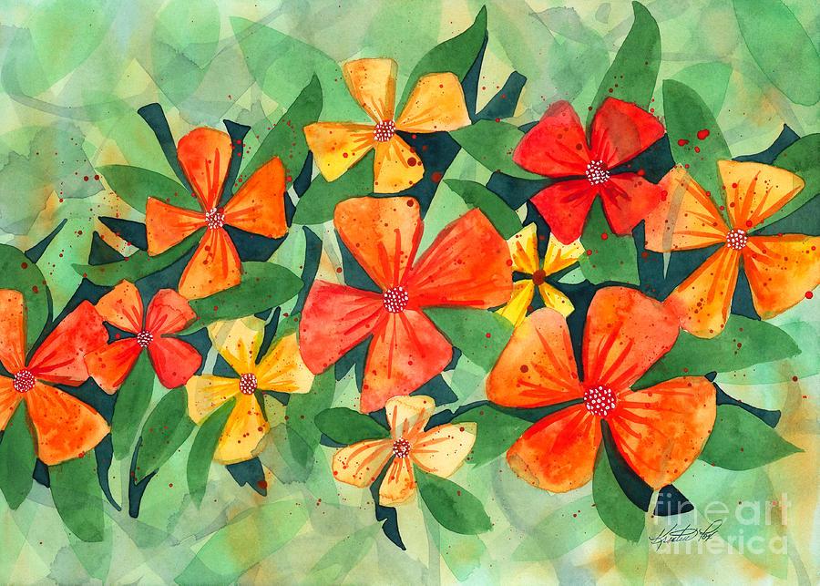 Tropical Flower Splash Painting By Kristen Fox