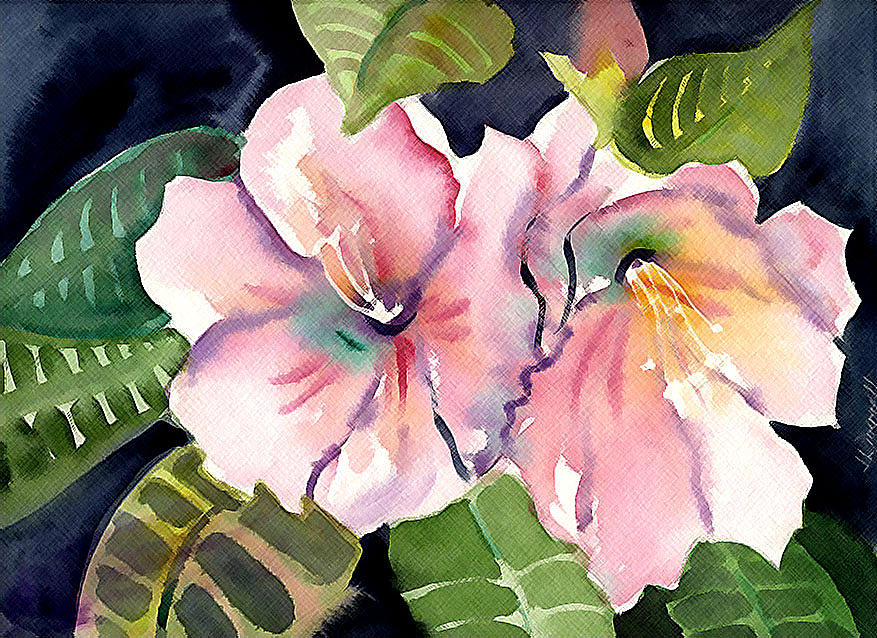 Tropical Painting - Tropical Flowers by Janet Doggett