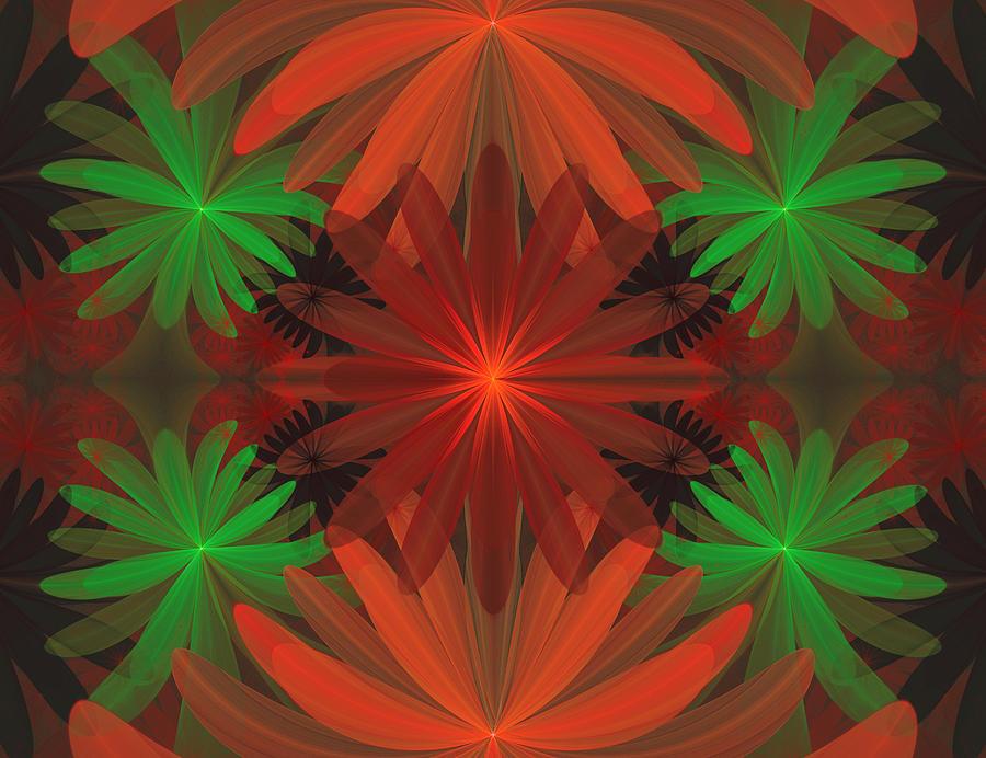 Fractal Digital Art - Tropical Flowers by Sandy Keeton
