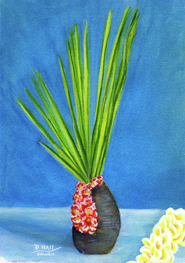 Prints Painting - Tropical Flowers Still Life #218 by Donald k Hall