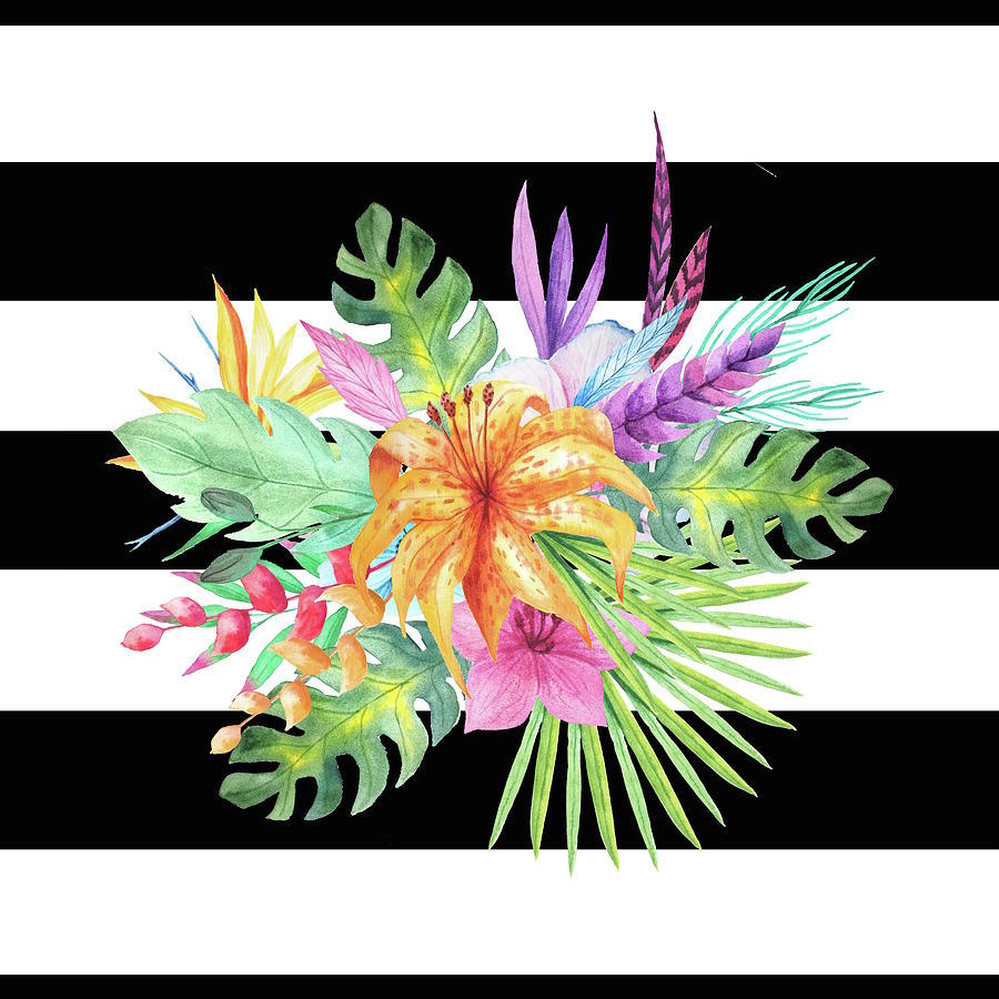 Tropical Flowers With Black And White Stripes Digital Art By Dushi