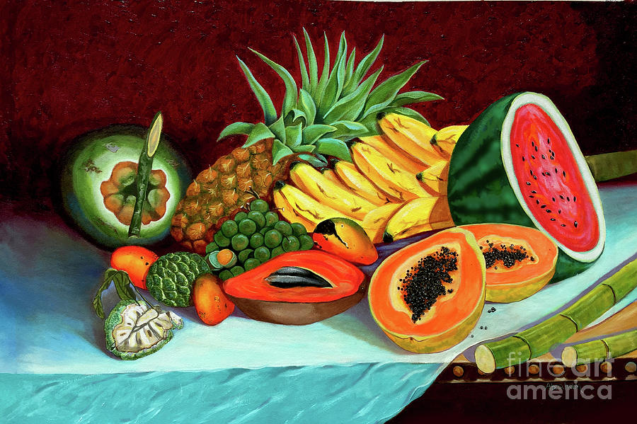 Coconut Painting - Tropical  Fruits by Jose Manuel Abraham