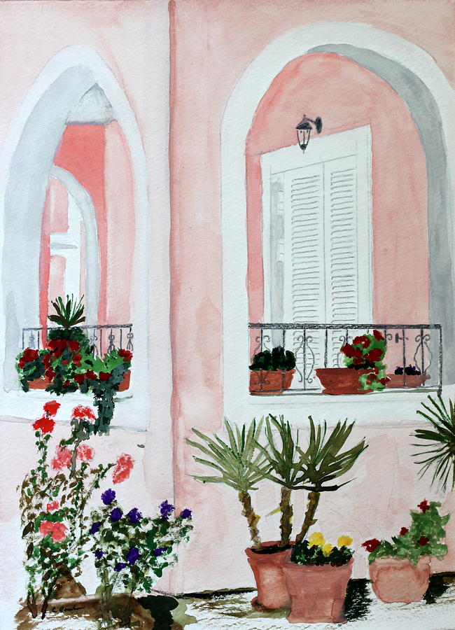 Tropical Home Painting by Cathy Jourdan