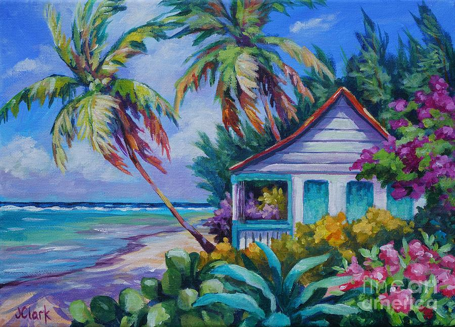 Tropical Island Cottage Painting by John Clark