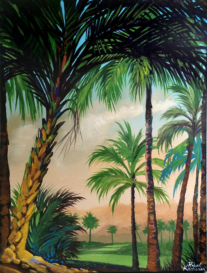 Tropical Landscape Painting By Robert Korhonen