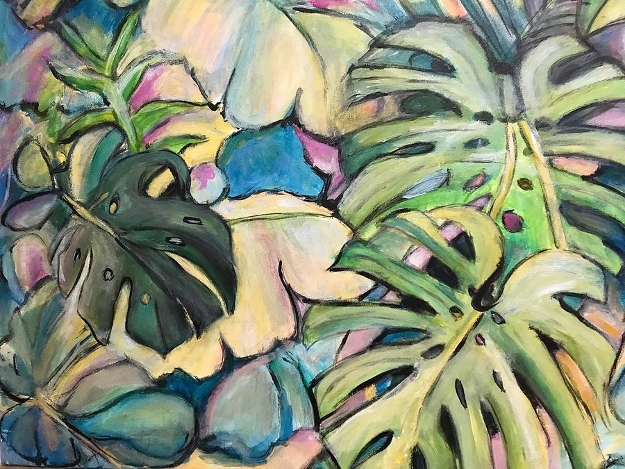 Tropical Painting - Tropical Leaves by Denice Palanuk Wilson