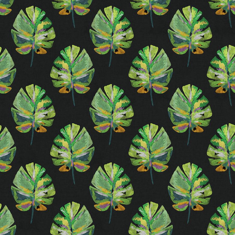 Palm Leaf Mixed Media - Tropical Leaves On Black- Art By Linda Woods by Linda Woods