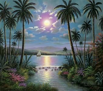 Tropical Night Painting by Suleyman Mavruk
