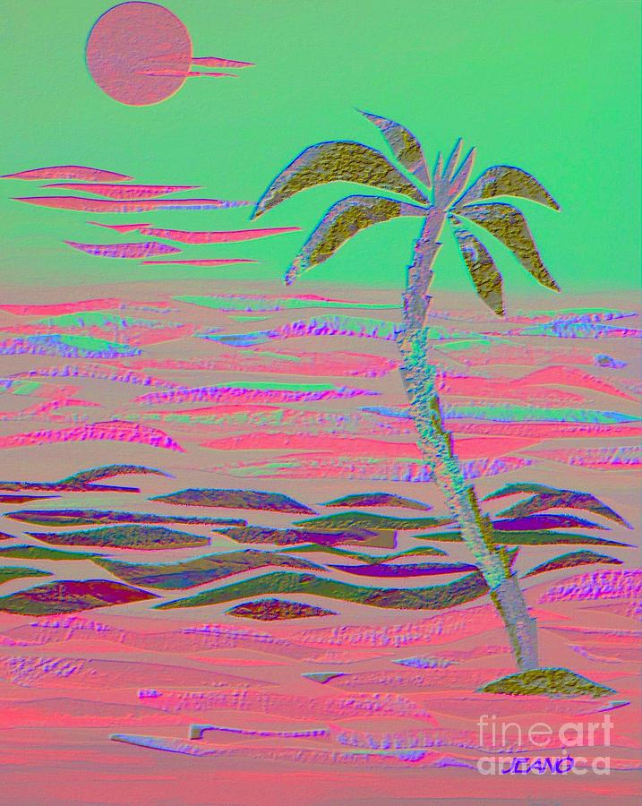 Tropical Mixed Media - Hot Pink Coconut Palm by Jean Clarke