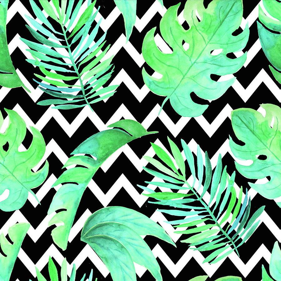 Tropical Palm Leaf Chevron Pattern Digital Art By Dushi Designs