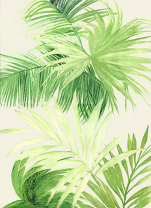 Palm Leaves Painting - Tropical Palm Leaves by Marja Koskinen-Talavera