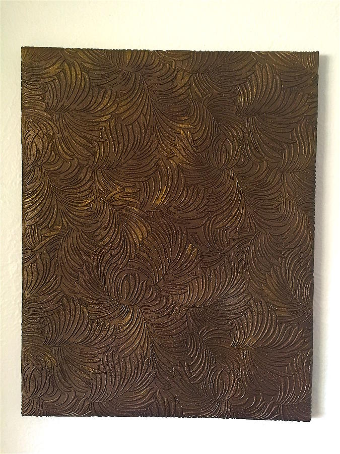 Tropical Painting - Tropical Palms Canvas Bronze - 16x20 Hand Painted by Artistic Mystic