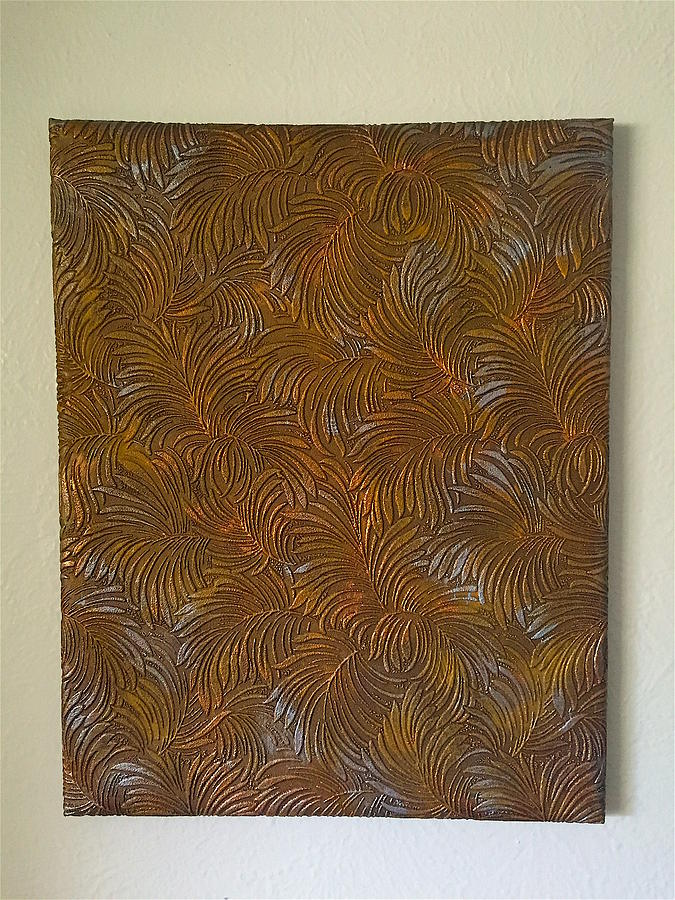 Janice Painting - Tropical Palms Canvas Copper Silver Gold - 16x20 Hand Painted by Artistic Mystic