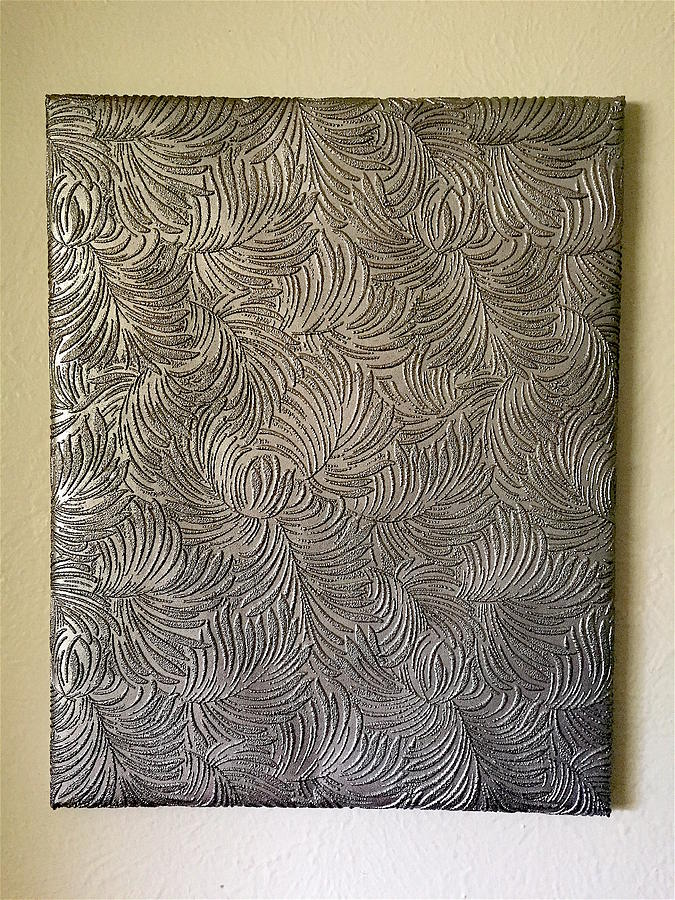 Tropical Painting - Tropical Palms Canvas Silver - 16x20 Hand Painted by Artistic Mystic