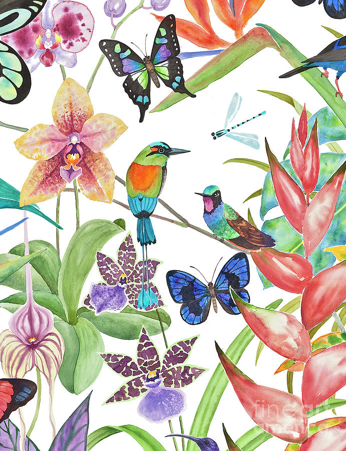 Tropical Paradise Dragonfly Painting By Lucy Arnold