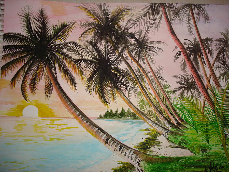 Beach Painting - Tropical Paradise by Jorge Luis  Iniguez