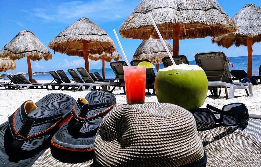 Red Photograph - Tropical Paradise Sun, Sand, Beach And Drinks. by Akshay Thaker-PhotOvation