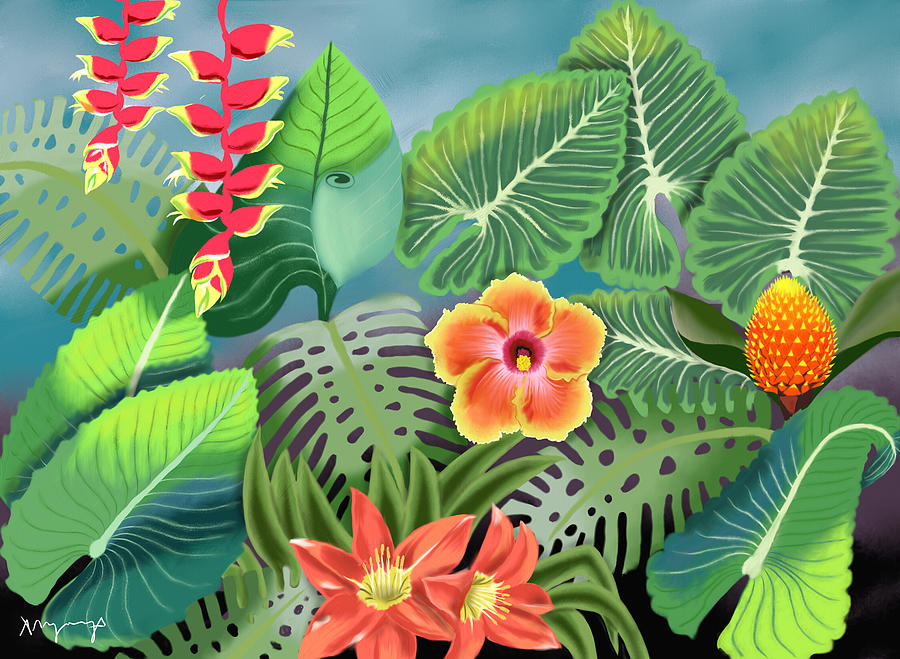 Tropical Plants Painting By Aimee Youngs