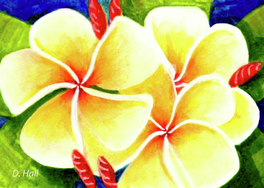 Plumeria Painting - Tropical Plumeria Flowers #226 by Donald k Hall