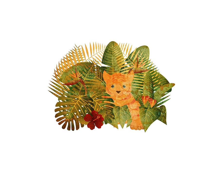 Tropical Rainforest  Jungle Tiger Cub Grunge Illustration by Jit Lim
