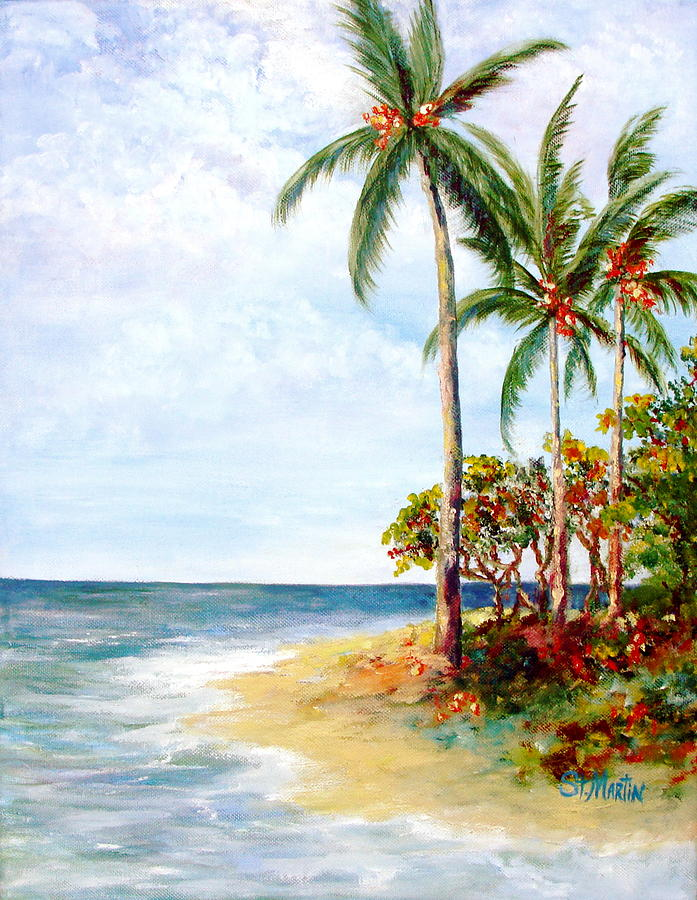 Tropical Island Painting - Tropical Retreat And Sandy Feet by Annie St Martin
