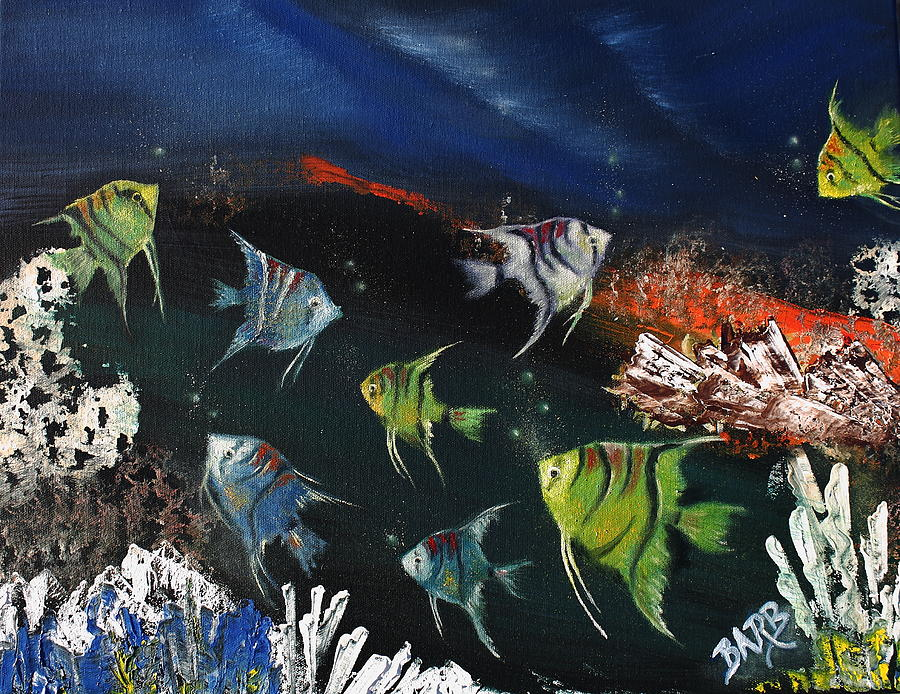 Fish Painting - Tropical Seaworld by Barbara Teller