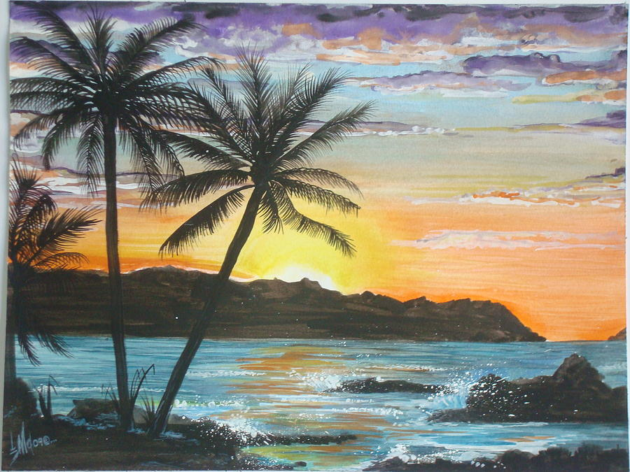Beach Painting - Tropical Sunset by Jorge Luis  Iniguez