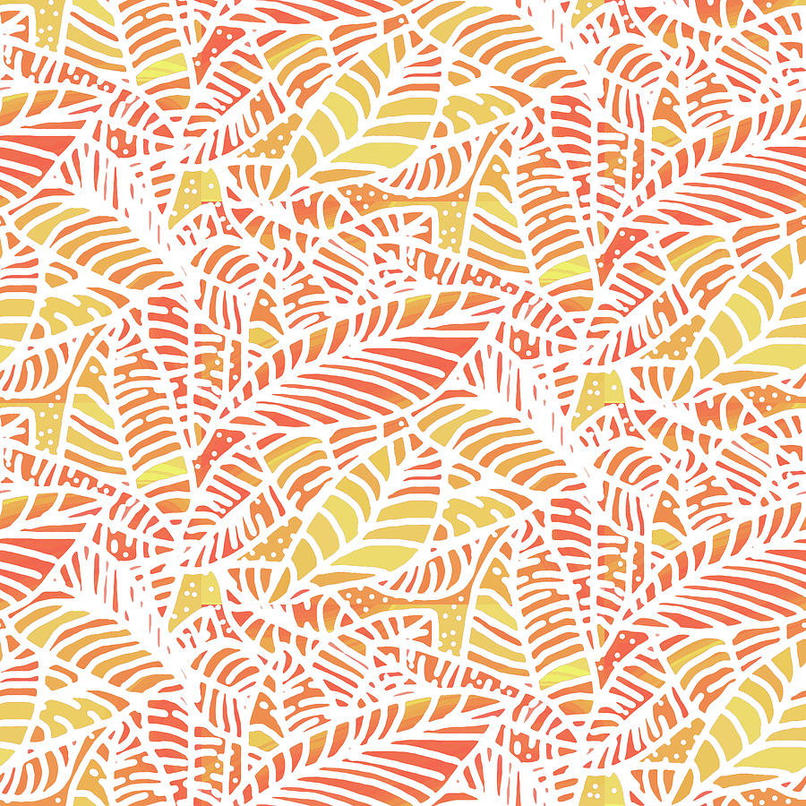 Tropical Sunset Leaves by Karen Dyson