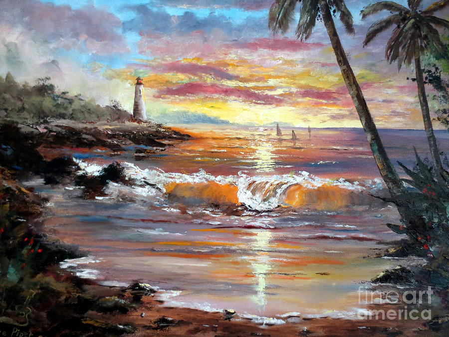 Sunset Painting - Tropical Sunset by Lee Piper