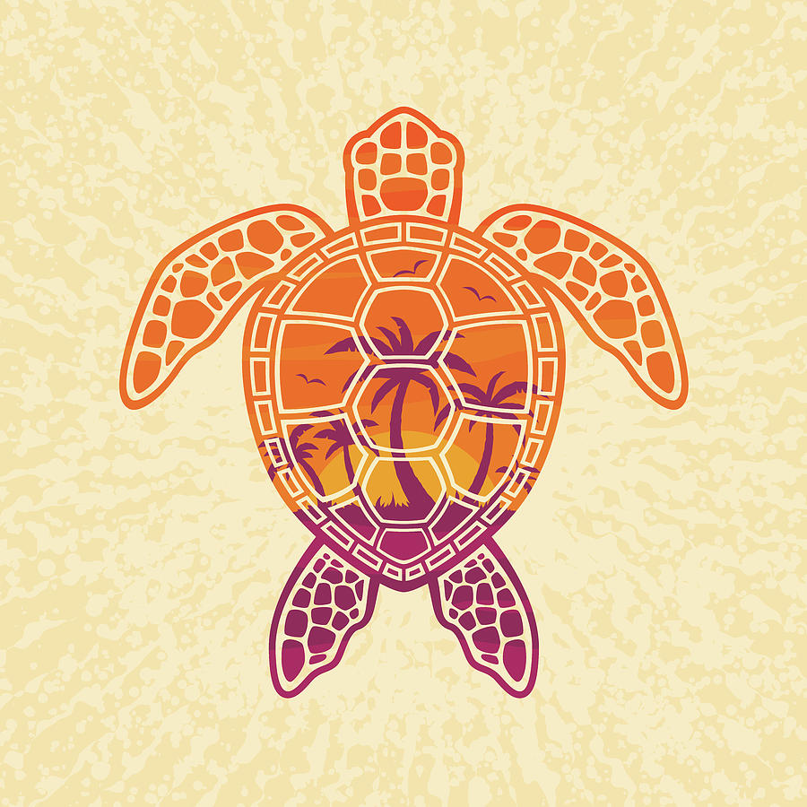 Palm Digital Art - Tropical Sunset Sea Turtle Design by John Schwegel