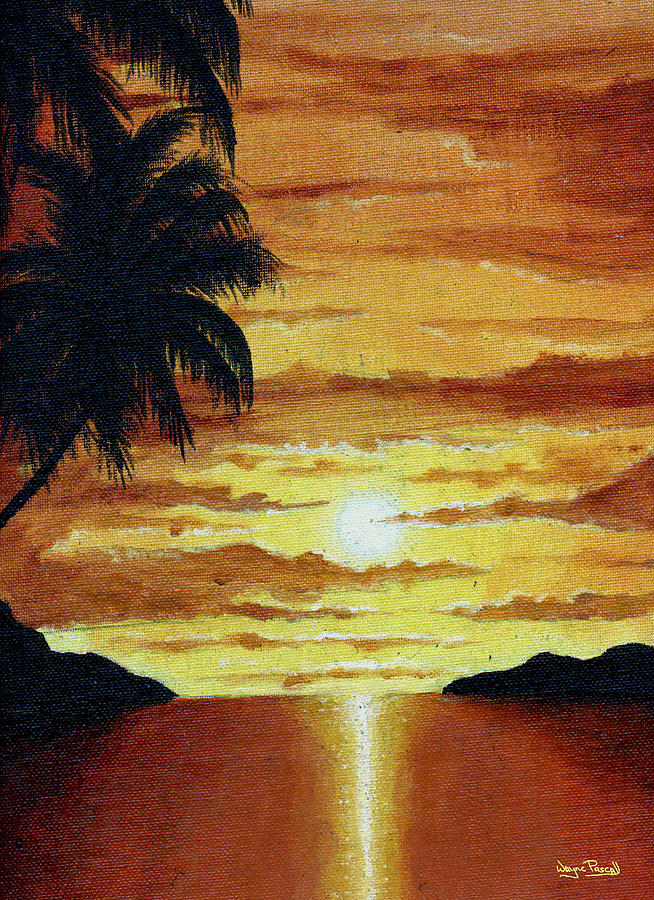 Sunset Painting - Tropical Sunset by Wayne Pascall